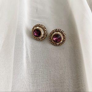 VTG Gold Brass Purple Jewel CZ Diamond Earringd